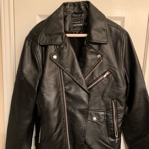 Mens Topman black faux leather biker jacket